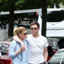 Kate Mara in Mini skirt with Jamie Bell out in Paris - 454 x 849