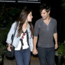 Taylor Lautner and Marie Avgeropoulos leaving Rare by Drai's restaurant in West Hollywood (March 13)