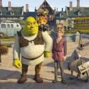 Shrek (voiced by Mike Myers), Puss-in-Boots (voiced by Antonio Banderas), Artie (voiced by Justin Timberlake), and Donkey (voiced by Eddie Murphy) in DreamWorks Animation's Shrek the Third - 2007