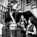 """Clarence Williams III, left, Michael Cole and Peggy Lipton, with Ida Lupino, right, in a """"Mod Squad"""" episode."""