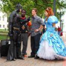Batman (Ike Barinholtz), Calvin (Gary 'G-Thang' Johnson), Will (Matt Lanter) and Enchanted Princess (Nicole Parker) in DISASTER MOVIE. Photo credit: Jon Barren Farmer - 454 x 303