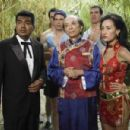 L to R: George Lopez, Diedrich Bader, James Hong, Brandon Molale and Maggie Q in a scene of Balls of Fury - 2007
