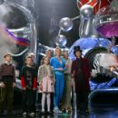 L-r: FREDDIE HIGHMORE, JORDAN FRY, DAVID KELLY, JULIA WINTER, JAMES FOX, MISSI PYLE, ADAM GODLEY and JOHNNY DEPP in Warner Bros. Pictures' fantasy adventure Charlie and the Chocolate Factory.  Peter Mountain ©2005 Warner Bros. Entertainment Inc. All