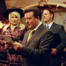 Jennifer Coolidge as Whitney Taylor Brown, Ricky Gervais as Martin Gibb and Larry Miller as Syd Finkleman in director Christopher Guest's For Your Consideration. Photo credit: Suzanne Tenner © 2006 Shangri-La Entertainment, LLC.