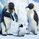 Memphis, as voiced by HUGH JACKMAN, tries to explain penguin life to his young son, Mumble, as voiced by E.G. DAILY, while Mumble's mother Norma Jean, as voiced by NICOLE KIDMAN, looks on in Warner Bros. Pictures' and Village Roadshow Pictures - 454 x 193
