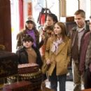 """(L-r) JOSH FLITTER as Corky, DANIELLA MONET as Inga, KELLY VITZ as Trish, EMMA ROBERTS as Nancy Drew, MAX THIERIOT as Ned Nickerson and DANA LEE as KG Louie in Warner Bros. Pictures' and Virtual Studios' family mystery adventure """"Nancy D - 454 x 300"""