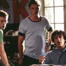 Jeff (Michael C. Maronna), Dave (Devon Sawa) and Sam (Jason Segel) are three roommates that have proudly scammed their way through the last four years of college in Screen Gems' Slackers - 2002