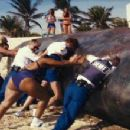 The brave and resourceful men and women of the Reno Sheriff's Department, on special assignment in Miami, put their all into dealing with a beached whale. From left, they are: Deputy Clementine Johnson (Wendi McLendon-Covey), Deputy Trudy Wiegel (Ke