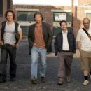 L to R: Ted Danson, William Fichtner, Jeff Bridges, Tim Blake Nelson, Joe Pantoliano and Patrick Fugit in the scene of Newmarket Films' The Amateurs.