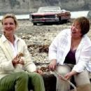 Carol (Joan Allen) and Margene (Kathy Bates) make Smores on the beach in 'Bonneville,' a SenArt Films Release.