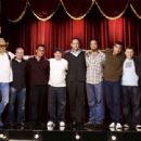 (From left to right) Dwight Yoakum, Peter Billingsley, Sebastian Maniscalco, John Caparulo, Vince Vaughn, Ahmed Ahmed, Bret Ernst, Keir O'Donnell and Jon Favreau in Vince Vaughn's Wild West Comedy Show. © 2007 Picturehouse - 454 x 340