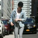 Emma Stone in Grey Tights out in New York City