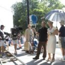 Director Sam Mendes with Kate Winslet on the set of REVOLUTIONARY ROAD. Photo by Francois Duhamel