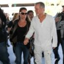 Eddie Van Halen and Jane Liszewski seen at LAX