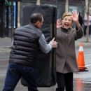 Annette Bening shoots a stunt scene where she pretends to get hit by a bus on the set of 'Life, Itself' in downtown Manhattan, New York on March 25, 2017 - 429 x 600