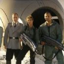 Cécile Breccia, Stephen Hogan, Jolene Blalock and Stelio Savante in the scene of Starship Troopers 3: Marauder. - 454 x 213