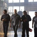 2 from left: Jason Statham, Ian McShane and Jacob Vargas in the scene of Death Race.