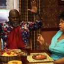 Mr. Brown (David Mann) and Cora Brown (Tamela Mann) in TYLER PERRY'S MEET THE BROWNS. Photo Credit: Alfeo Dixon - 454 x 298