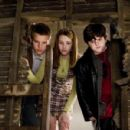 Max Thieriot as Ned Nickerson, Emma Roberts as Nancy Drew and Josh Flitter as Corky in Nancy Drew - 2007. Photo by Melinda Sue Gordon