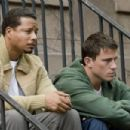 (L to R) Manager Harvey Boarden (TERRENCE HOWARD) gives hard advice to star brawler Shawn MacArthur (CHANNING TATUM) in the action film Fighting. Credit: Phillip V. Caruso