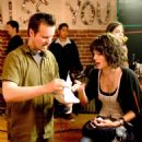 """Director Matt Reeves (left) and actress Lizzy Caplan (right) on the set of """"Cloverfield."""" Photo Credit: Sam Emerson. © 2008 by Paramount Pictures. All Rights Reserved."""