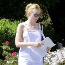 Elle Fanning in White Dress out in LA - 454 x 564