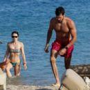 Aurora Ramazzotti in Bikini on the beach on Mykonos Island - 454 x 303