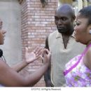 Writer/director Nnegest Likke with Jimmy Jean-Louis and Monique Imes on the set of Fox Searchlight's Phat Girlz - 2006