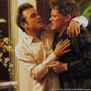 Hank Garland (Waylon Payne) jokes with a drunk Billy Byrd (Scott Michael Campbell)