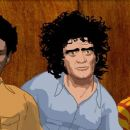 Animated shots of the defendants of the 1968 Conspiracy Trial Bobby Seale (voice by Jeffrey Wright), Abbie Hoffman (voice by Abbie Hoffman) and Jerry Rubin (voice by Jerry Rubin) in CHICAGO 10, a film by Brett Morgen. Courtesy of Roadside Attractions