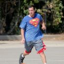 Adam Sandler was spotted playing basketball with his friends in Brentwood, California on October 15, 2016 - 452 x 600