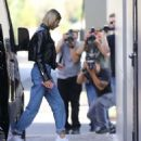 Hailey Bieber in Leather Jacket – Out in Beverly Hills