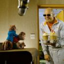 Sleazy music executive Ian (David Cross) tries to jump-start the flagging energies of his newest artists – Alvin and the Chipmunks – with some hyper-caffeinated refreshments. Photo credit: Rhythm & Hues. Alvin and the Chipmunks and Characters