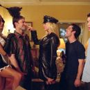 Brandi 'the Maid' (Amanda Swisten), Stifler (Seann William Scott), 'Officer' Krystal (Nikki Ziering), Kevin (Thomas Ian Nicholas) and Finch (Eddie Kaye Thomas) start the bachelor party