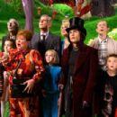 "L-r: FREDDIE HIGHMORE, JULIA WINTER, DAVID KELLY, FRANZISKA TROEGNER, JAMES FOX, ANNASOPHIA ROBB, MISSI PYLE, JOHNNY DEPP, ADAM GODLEY and JORDAN FRY in Warner Bros. Pictures' fantasy adventure ""Charlie and the Chocolate Factory."" Photo"