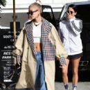 Hailey Baldwin in Long Coat – Out in Beverly Hills