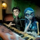 "Victor, as voiced by JOHNNY DEPP, and the Corpse Bride, as voiced by HELENA BONHAM CARTER, in Warner Bros. Pictures' stop-motion animated fantasy ""Tim Burton's Corpse Bride,"" also starring the voice of Emily Watson.Photo courtesy o"