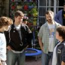 """(Left to right) Nate Hartley, director Steven Brill, producer Judd Apatow and Troy Gentile on the set of """"Drillbit Taylor."""" Photo Credit: Suzanne Hanover. © 2008 by PARAMOUNT PICTURES. All Rights Reserved. - 454 x 303"""