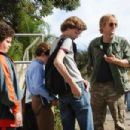 "(Left to right) Ryan (Troy Gentile), Emmit (David Dorfman) Wade (Nate Hartley) and Drillbit Taylor (Owen Wilson) conspire to defeat a nasty school bully in ""Drillbit Taylor."" Photo Credit: Suzanne Hanover. © 2008 by PARAMOUNT PICTURES. All Rig"