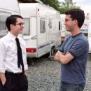 Elijah Wood and Author Jonathan Safran Foer on the set of director Liev Schreiber's EVERYTHING IS ILLUMINATED, a Warner Independent Pictures release. Photo credit: Neil Davidson. © 2005 Warner Bros. Entertainment Inc.