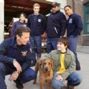 (Frontground) Bruce Greenwood, Rex and Josh Hutcherson, (background) Mayte Garcia, Teddy Sears, Bill Nunn and Scotch Ellis Loring in Firehouse Dog - 2007 - 440 x 239