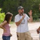 "Director MARCUS NISPEL (center) discusses a scene with DANIELLE PANABAKER (left) and JARED PADALECKI (right) on the set of New Line Cinema's and Paramount Pictures' horror film ""Friday the 13th,"" a Warner Bros. Pictures release. Ph"