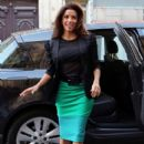Eva Longoria: arriving a the 'Europe 1' radio station in Paris