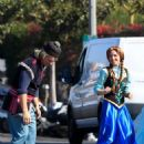 Kristen Bell and James Corden – Perform a 'Frozen' skit in traffic outside CBS Studios