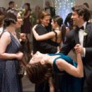 In Columbia Pictures' Made of Honor, Tom (Patrick Dempsey, right) and Hannah (Michelle Monaghan) dance in a fruitless attempt to escape a Psycho Blogger (Christine Barger, left). Photo By:  Peter Iovino. ©2008 Columbia Pictures Industries, Inc. and Be