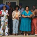 A scene from TYLER PERRY'S MEET THE BROWNS featuring (left to right) Vera (Jenifer Lewis), Will (Lamman Rucker), Sarah (Margaret Avery), L.B. (Frankie Faison), Cora Brown (Tamela Mann) and Mr. Brown (David Mann). Photo Credit: Alfeo Dixon