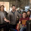 (Left to right) Seth Rogen, James Franco, Judd Apatow, David Gordon Green, Shauna Robertson, and Evan Goldberg on the set of Columbia Pictures' action-comedy Pineapple Express. © 2008 Columbia Pictures Industries, Inc.