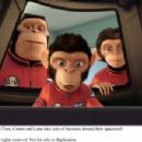 Astronaut chimps (from left) Titan (voice by Patrick Warburton), Comet (voice by Carlos Alazraqui) and Luna (voice by Cheryl Hines) take care of business aboard their spacecraft. Photo credit: Vanguard Animation, LLC.  All rights reserved.