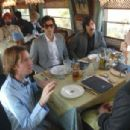 L-R_Director and co-writer Wes Anderson, Adrien Brody, Jason Schwartzman and Owen Wilson (back) on the set of  THE DARJEELING LIMITED. Photo Credit: James Hamilton