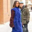 Gabrielle Union is seen wearing a multi-colored fur coat while leaving 'The View' in New York City, New York on January 10, 2017 - 392 x 600